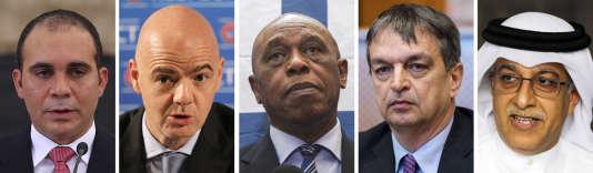 Les cinq candidats à la présidence de la FIFA : Ali Ben Al-Hussein, Gianni Infantino, Tokyo Sexwale, Jérôme Champagne, Salman Ben Ibrahim Al-Khalifa.