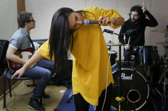 La chanteuse Jamala, le 18 février lors d'une répétition. Le 21 février, elle a remporté la sélection nationale ukrainienne pour le concours de l'Eurovision.