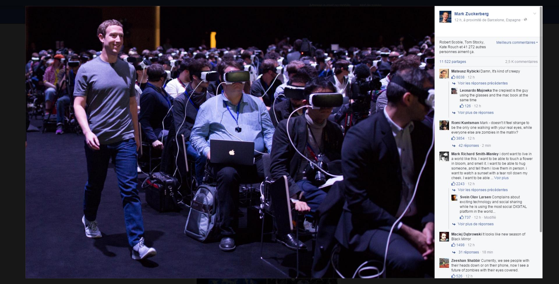 La photo publiée par Mark Zuckerberg après son allocution à la conférence de Samsung au Mobile World Congress de Barcelone, le 21 février.