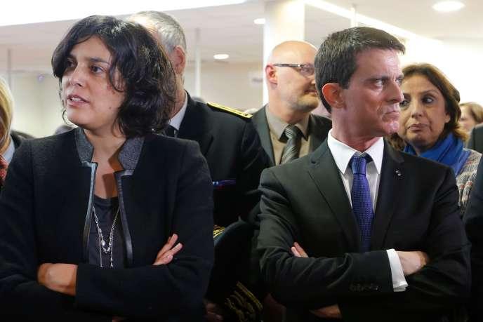 Myriam El Khomri et Manuel Valls, le 22février.