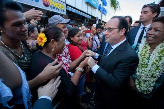 François Hollande à Papeete, capitale de Tahiti, le 22 février 2016.
