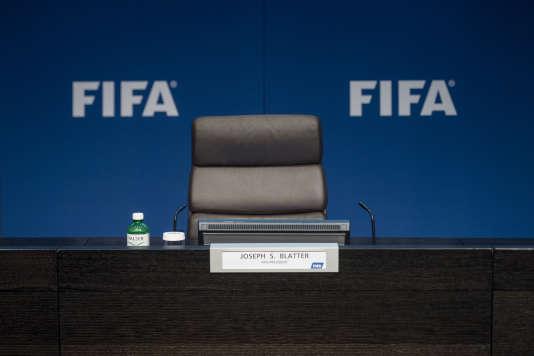 Le fauteuil de l'ex-président de la FIFA, le 2 juin 2015 à Zurich.