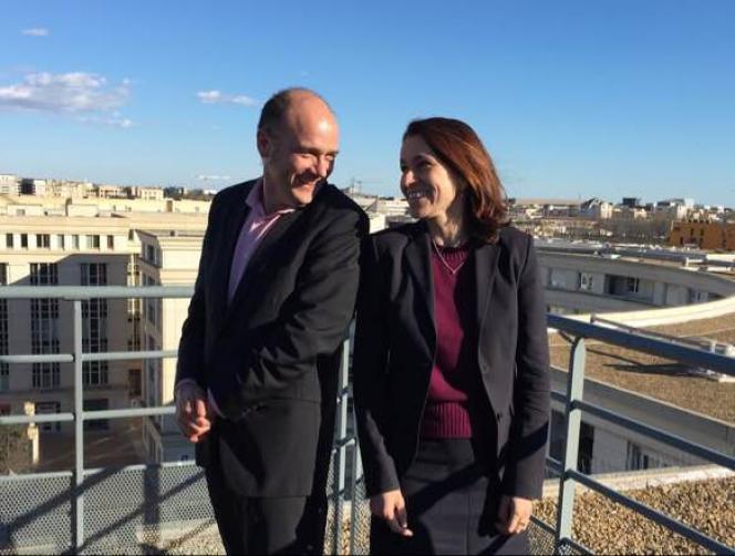 Christophe Leparc, directeur du festival Cinemed, et Aurélie Filippetti, sa future présidente, à Montpellier, le 19 février 2016.
