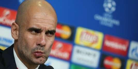 Pep Guardiola en conférence de presse le 22 février avant le match face à la Juventus.