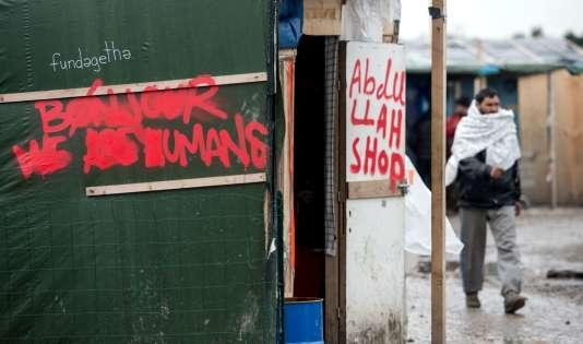 """Dans la """"jungle"""" de Calais le 23 février."""