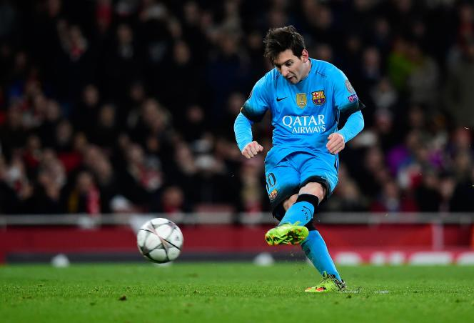 Lionel Messi lors du match qui opposait son équipe, le FC Barcelone, à Arsenal, en huitièmes de finale aller de la Ligue des Champions.