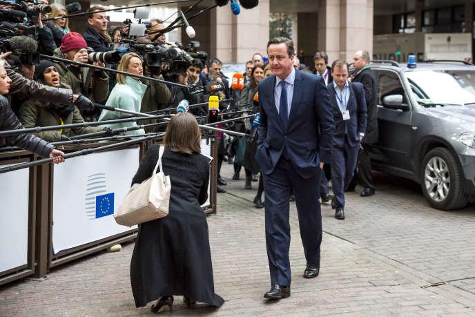 David Cameron arrive au Conseil Européen à Bruxelles le 18 février 2016.