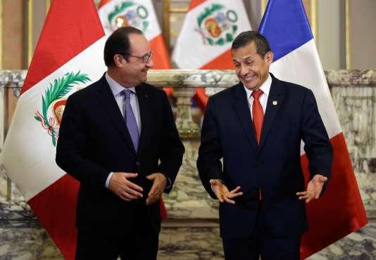 Le président français, François Hollande, et son homologue péruvien, Ollanta Humala, le 23 février à Lima.
