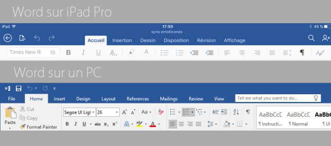 Word sur iPad pro et sur PC.