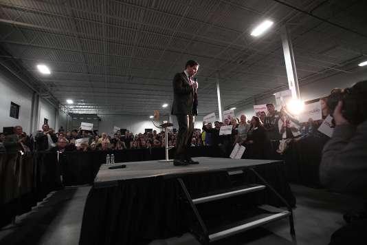 Le candidat républicain Marco Rubio lors d'un meeting à Grand Rapids, dans le Michigan, lundi 22 février 2016. Il a préféré être dans le Michigan plutôt que dans le Nevada le jour du caucus.
