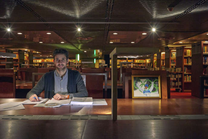 Jason Lamy-Chappuis, dans la salle C de la Bibliothèque nationale de France, à Paris, le 22 février.