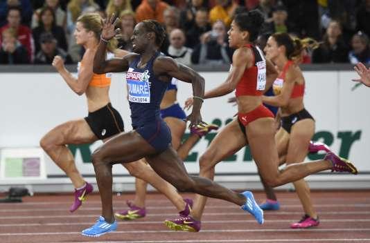 Myriam Soumaré lors de la finale du 100 m des Championnats d'Europe 2014 à Zurich.