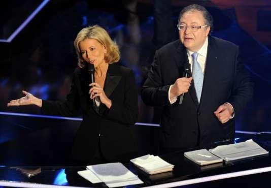 Claire Chazal et Frédéric Lodéon lors des Victoires de la musique classique à Toulouse, le 24 février 2016.