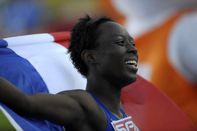 Myriam Soumaré est championne d'Europe du 200 m le 31 juillet 2010 à Barcelone.