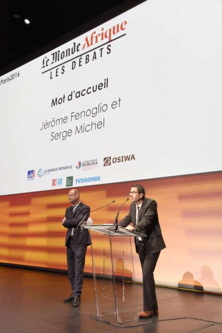 """Cette journée de débat s'est ouverte sur une intervention du directeur du """"Monde"""", Jérôme Fenoglio, et Serge Michel, grand reporter et rédacteur en chef du """"Monde Afrique""""."""