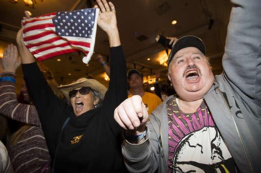 Des militants, lors de la soirée électorale de Donald Trump.