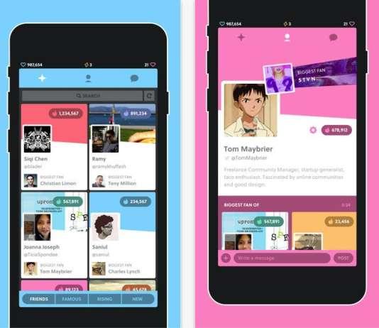 Capture d'écran de l'application Famous.