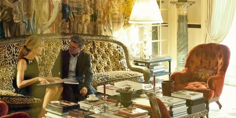 February 29, 2015 France, Paris 8, Laurent Marie Affre et Patricia d'Arenberg dans sa maison. discussing the current Versace collection