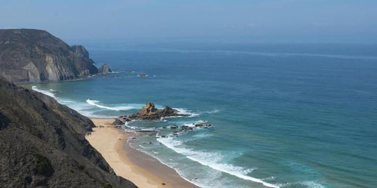 Europe, Portugal, Algarve, Faro distrcit, coast near Vila do Bispo, rocks, cliff, sky, sea, Mediterranean Sea, nature, beach, water, waves, 10 September 2012