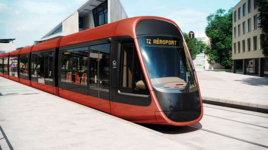 """Le tramway de Nice, ligne 2, sera """"ocre-rouge"""", comme l'ont choisi les Niçois."""