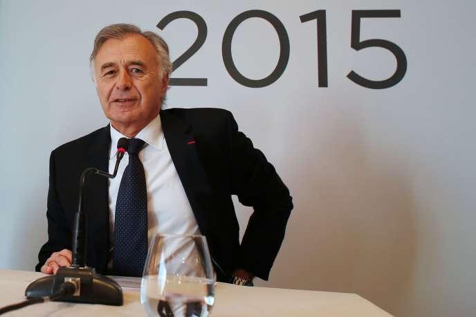 Le directeur général de Safran, Philippe Petitcolin, lors de la présentation des résultats du groupe pour 2015, à Paris, le 25 février.