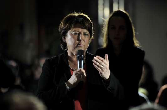 L'ancienne secrétaire du PS, Martine Aubry, à Lille, jeudi 25 février.