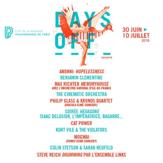 La 7e édition du festival Days Off à la Philharmonie de Paris, se déroulera du 30 juin au 9 juillet.
