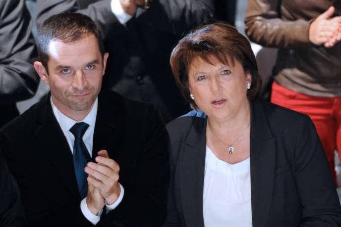 Martine Aubry et Benoît Hamon, à Lille, en octobre 2011.