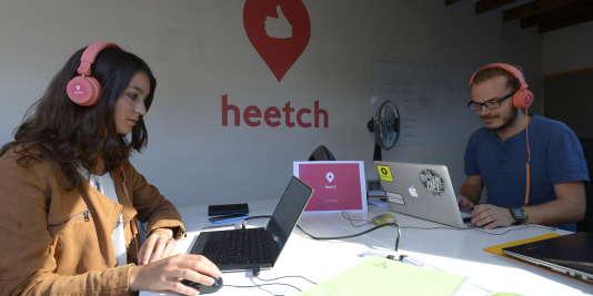 Des employés de Heetch, dans les bureaux parisiens.