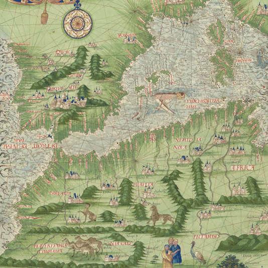 """""""Cosmographie universelle"""", G. Le Testu,  Le Havre, 1556 (détail)."""