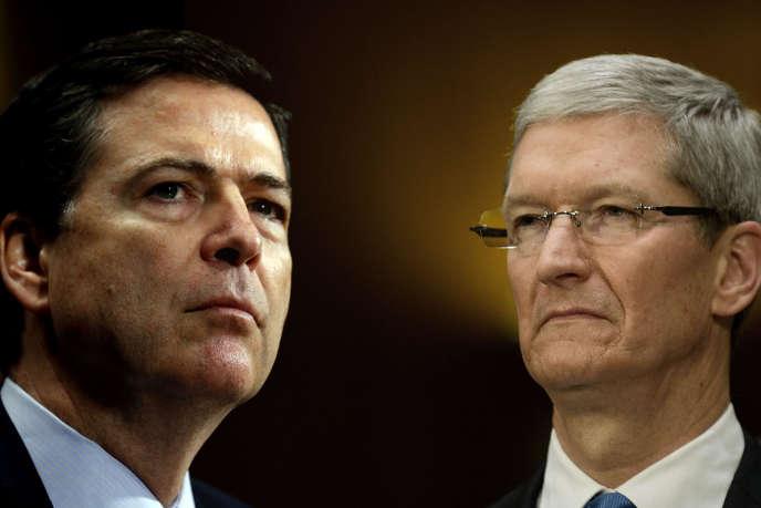 Le directeur du FBI, James Comey, et Tim Cook, le PDG d'Apple.