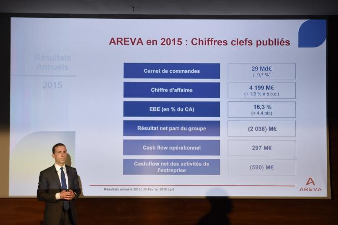 Philippe Knoche, directeur général d'Areva, lors de la présentation des résultats du groupe, le 26 février, à Paris. Le groupe affiche une perte de 2 milliards d'euros en 2015.