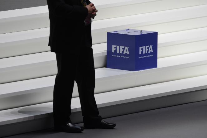 Au siège de la FIFA, à Zurich, vendredi 26 février, lors de l'élection du nouveau président de l'instance.