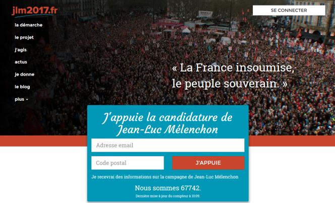 Capture décran de jlm2017.fr, site de Jean-Luc Mélenchon, construit avec le logiciel NationBuilder.