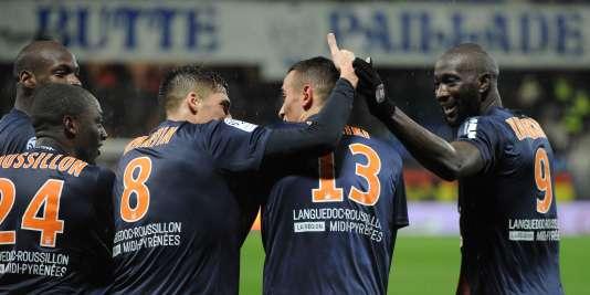 La joie des joueurs montpelliérains après leur victoire face à Lille, le 27février.