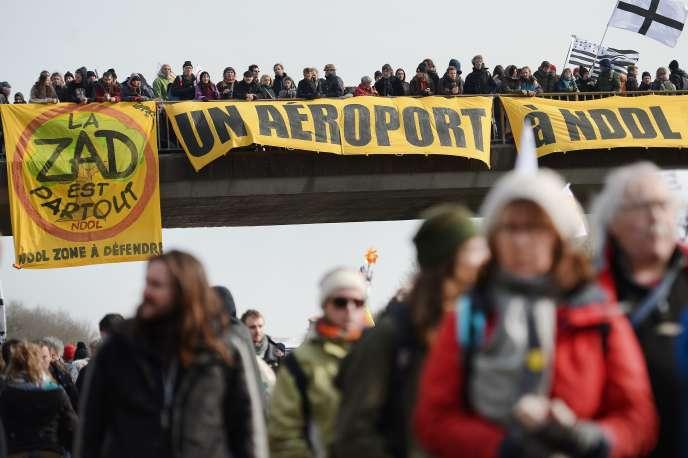 Manifestation des opposants au projet d'aéroport à Notre-Dame-des-Landes, le 27 février à Le Temple-de-Bretagne (Loire-Atlantique).
