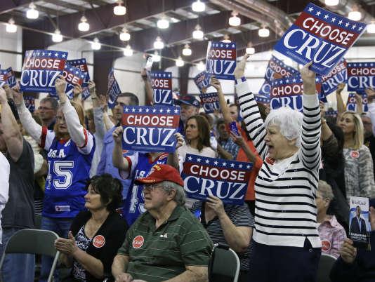 Des partisans de Ted Cruz lors d'un meeting du candidat à l'investiture républicaine à Tulsa (Oklahoma), le 28 février.