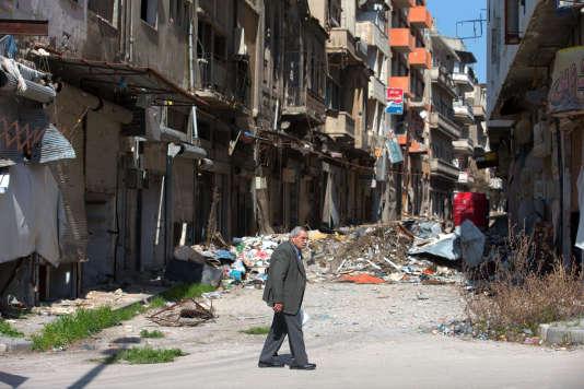Dans les rues de Homs, le 26 février.