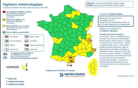 Carte de Météo France, le 28 février.