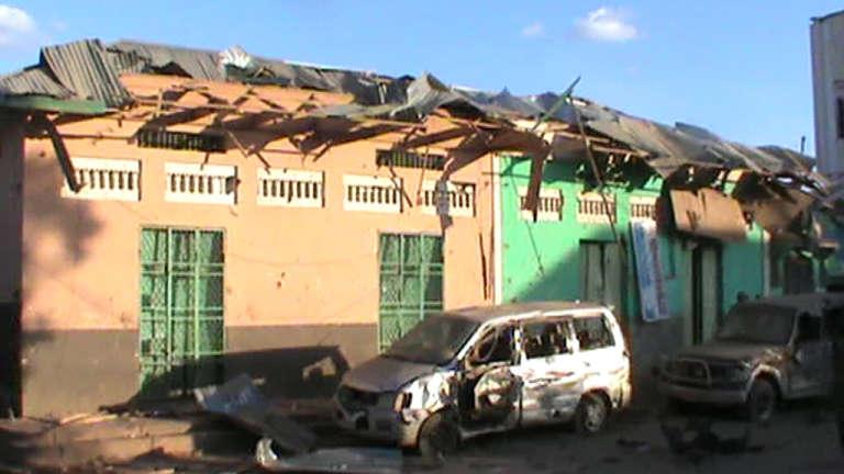 Les stigmates du double attentat qui a touché Baidoa dimanche 28 février.