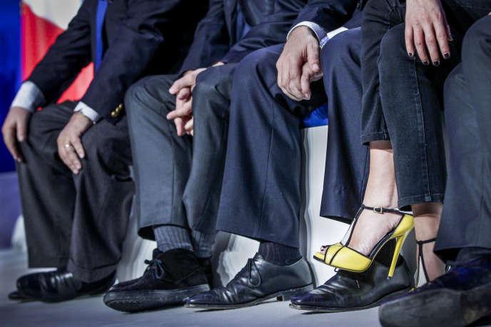 Les jambes de Rachida Dati lors d'un meeting deJean-François Copé, en 2012.