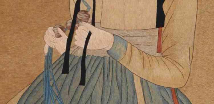 En posant des ombres plus claires sur les masses sombres, l'artiste accroche la lumière. Mais ce ne sont pas des touches de peinture délicatement posées au pinceau, mais des fils tendus à l'aiguille.