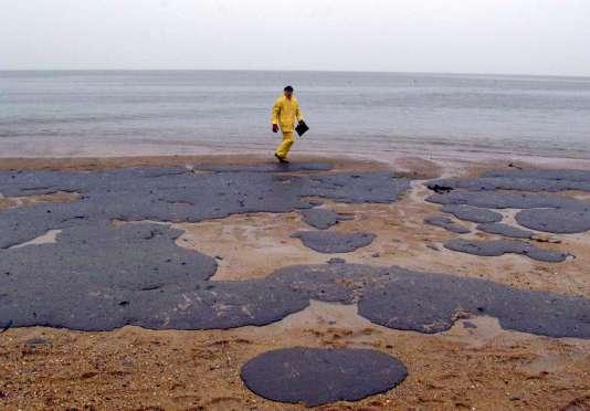 Sur une plage de l'île de Noirmoutier, le 27décembre1999.