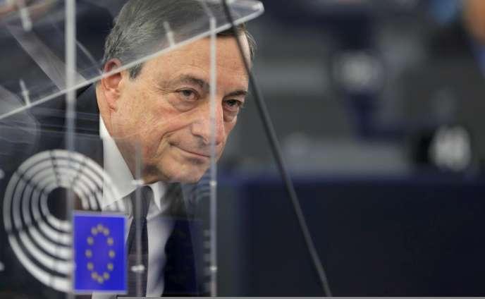 Le président de la Banque centrale européenne, Mario Draghi, au Parlement européen, à Strasbourg, le 1 er février.
