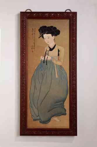 Cette peinture de 1980 est, en réalité, une broderie en fils de soie, à points passés plats et  points de tige, de 143 cm sur 71 cm. Pour obtenir les clairs obscurs, In-sook Son teint, pour chaque couleur, un kilo de fils en une vingtaine de nuances.