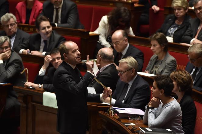 Le ministre de la justice, Jean-Jacques Urvoas, devant l'Assemblée nationale le 1er mars.