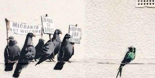 Ce graffiti de Banksy a été effacé, le 1er octobre 2014, par le service propreté de la ville de Clacton-on-Sea, dans le sud de d'Angleterre.