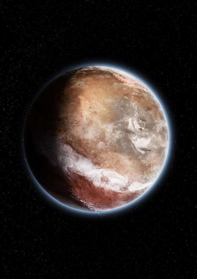 Vue d'artiste de Mars telle qu'elle était il y a environ 3,5 milliards d'années avant que sa croûte ne bascule suite à l'apparition du renflement géant volcanique Tharsis. La zone blanche au Sud correspond à l'accumulation de précipitations.