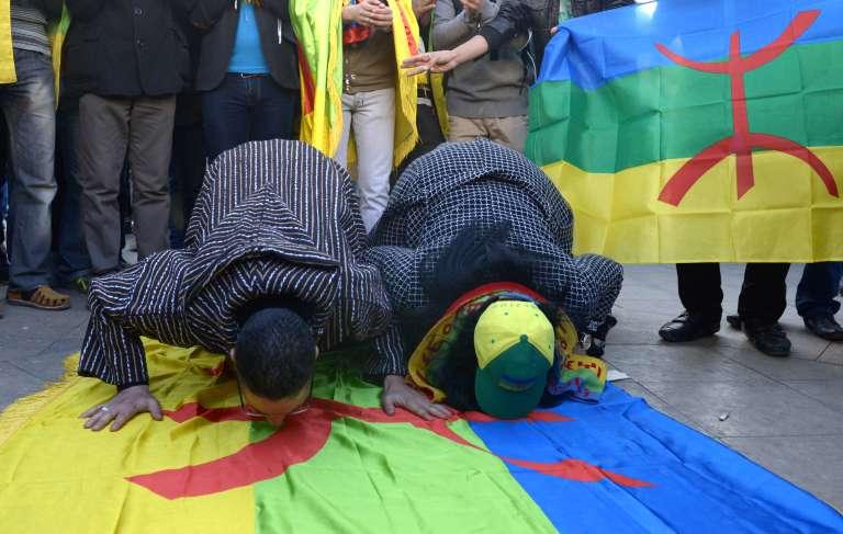 Lors d'une manifestation de la communauté berbère du Maroc, à Rabat, en janvier 2014.