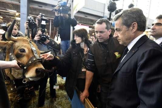 Nicolas Sarkozy, le 2 mars, au Salon de l'agriculture.